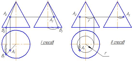 Как сделать проекционное черчение конуса